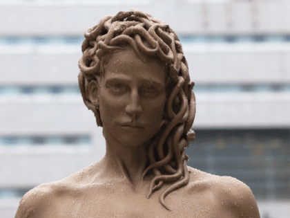 "A detailed view of Medusa's head from the newly installed statue of ""Medusa With The Head of Perseus"" by Argentine-Italian artist Luciano Garbati stands in Collect Pond Park on October 13, 2020 in New York City. In the wake of the #MeToo movement, the seven-foot bronze sculpture changes the narrative …"