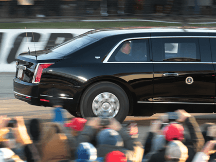 Donald Trump Does Laps with Presidential Limo at Wisconsin Racetrack