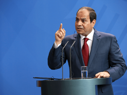 Egyptian President Abdel Fattah el-Sisi speaks during a news conference with German Chancellor Angela Merkel (unseen) on June 3, 2015 in Berlin, Germany. The meeting between the two leaders was intended to increase economic and security cooperation between their two countries, which shared 4.4 billion euros ($4.8 billion) in bilateral …