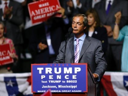 JACKSON, MS - AUGUST 24: United Kingdom Independence Party leader Nigel Farage speaks during a campaign rally for Republican Presidential nominee Donald Trump at the Mississippi Coliseum on August 24, 2016 in Jackson, Mississippi. Thousands attended to listen to Trump's address in the traditionally conservative state of Mississippi. (Photo by …
