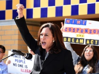 IRVINE, CA - OCTOBER 11: Sen. Kamala Harris (D-CA) attends a Dream Act (Deferred Action for Childhood Arrivals) Rally in the Student Center at University of California Irvine October 11, 2017 In Irvine, California. (Photo by Kevork Djansezian/Getty Images)