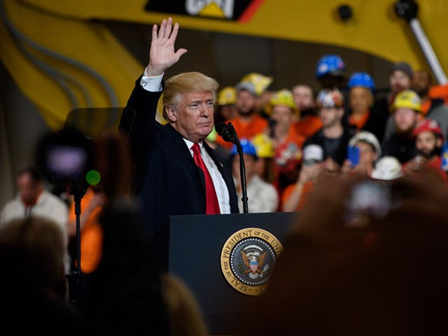 RICHFIELD, OHIO - MARCH 29: U.S. President Donald Trump speaks to a crowd gathered at the Local 18 Richfield Facility of the Operating Engineers Apprentice and Training, a union and apprentice training center specializing in the repair and operation of heavy equipment on March 29, 2018 in Richfield, Ohio. President …