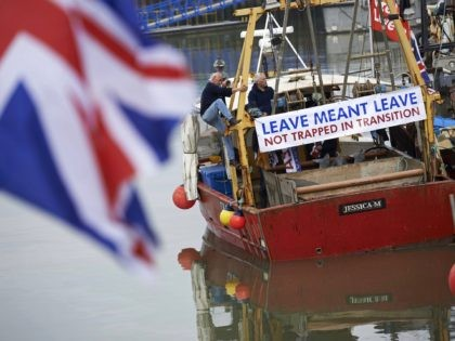 People working in the fishing industry supported by the pro-Brexit Fishing for Leave organisation launched flotillas nationwide on April 7, 2018 in protest against the prospect of Britain continuing to adhere to the EU's Common Fisheries Policy that sets quotas and fishing rights during the transition period after Britain has …