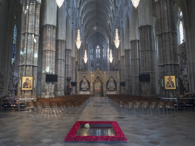 The bouquet of flowers carried by Meghan Markle during her wedding to Britain's Prince Harry, Duke of Sussex at ST George's Chapel , Windsor Castle, is pictured laid on the grave of the Unknown Warrior inside Westminster Abbey in London, on May 20, 2018, two days after the wedding ceremony. …