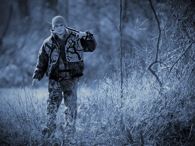 Delta Theta Sigma fraternity member Tom Kirby hunts on Penn State University land in State College, Pa., Wednesday, Dec. 3, 2008. The Delta Theta Sigma fraternity is geared toward students interested in agriculture careers, many of them avid hunters from growing up in small towns and rural areas. They'll try …