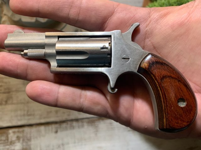 The North American Arms (NAA) .22 Magnum mini-revolver is a single action firearm with a minimalist design which allows it to be concealed and kept close at hand in the event of an attack or other cause of duress.