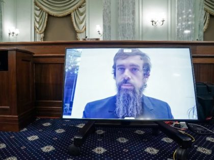 Jack Dorsey on screen in Senate