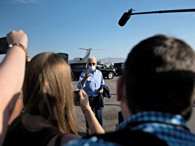 Democratic Presidential candidate and former US Vice President Joe Biden speaks to the press before boarding his campaign plane at McCarran International Airport October 9, 2020, in Las Vegas, Nevada. (Photo by Brendan Smialowski / AFP) (Photo by BRENDAN SMIALOWSKI/AFP via Getty Images)
