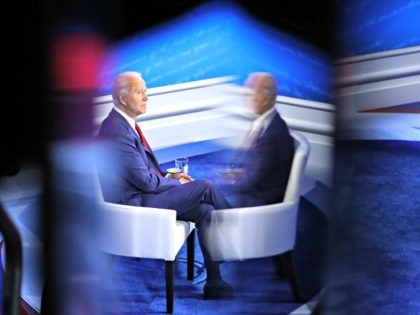 PHILADELPHIA, PENNSYLVANIA - OCTOBER 15: Democratic presidential nominee Joe Biden participates in a Town Hall format meeting with ABC News Chief Anchor George Stephanopoulos at the National Constitution Center October 15, 2020 in Philadelphia, Pennsylvania. The second presidential debate was originally scheduled for this day but was cancelled after President …