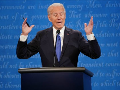 Democratic Presidential candidate and former US Vice President Joe Biden speaks during the final presidential debate at Belmont University in Nashville, Tennessee, on October 22, 2020. (Photo by Brendan Smialowski / AFP) (Photo by BRENDAN SMIALOWSKI/AFP via Getty Images)