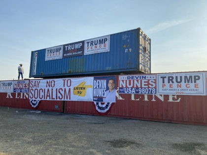Farmers in California are rebuilding a structure they erected to put up signage in support of President Donald Trump and Rep. Gavin Nunes (R-CA) after vandals have twice destroyed it by setting it on fire.