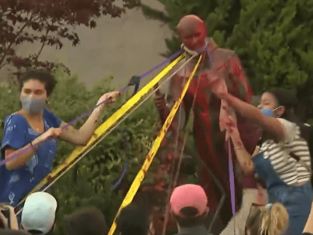 Vandals tear down Juniper Serra statue in San Rafael, California. (Video Screenshot/KTVU Fox2)