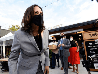 RALEIGH, NC - SEPTEMBER 28: Democratic vice presidential nominee, Sen. Kamala Harris (D-CA) answers questions from the media outside Trophy Brewing on September 28, 2020 in Raleigh, North Carolina. Harris's campaign swing to the state comes a day before the first presidential debate between running mate Joe Biden and President …