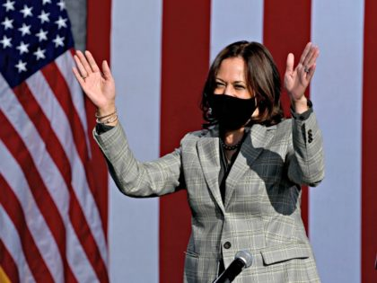 LAS VEGAS, NEVADA - OCTOBER 02: Democratic U.S. Vice Presidential nominee Sen. Kamala Harris (D-CA) waves as she arrives at a voter mobilization drive-in event at UNLV on October 2, 2020 in Las Vegas, Nevada. Harris is campaigning ahead of the October 7 debate against U.S. Vice President Mike Pence …