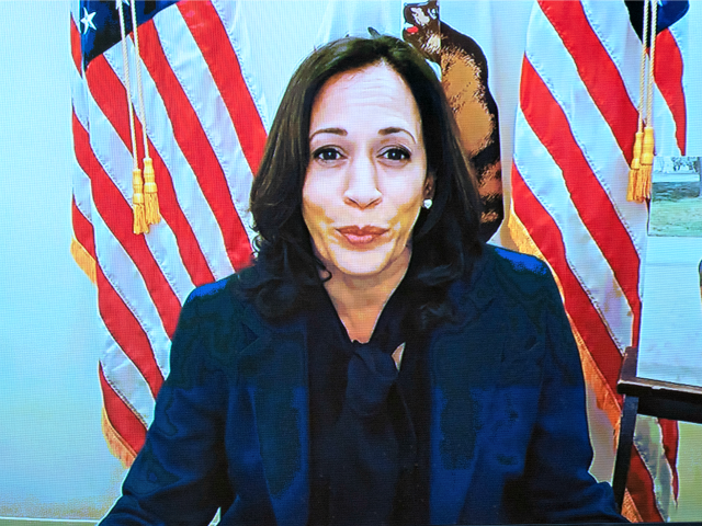 WASHINGTON, DC - OCTOBER 12: U.S. Sen. Kamala Harris (D-CA) speaks via video conference during the Senate Judiciary Committee confirmation hearing for Supreme Court Justice on Capitol Hill on October 12, 2020 in Washington, DC. With less than a month until the presidential election, President Donald Trump tapped Amy Coney …