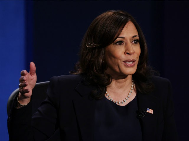 Democratic vice presidential nominee Sen. Kamala Harris (D-CA) participates in the vice presidential debate against U.S. Vice President Mike Pence at the University of Utah on October 7, 2020 in Salt Lake City, Utah. The vice presidential candidates only meet once to debate before the general election on November 3. …