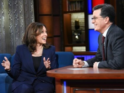 The Late Show with Stephen Colbert and guest Sen. Kamala Harris during Thursday's April 19, 2018 show. Photo: Scott Kowalchyk/CBS ©2018 CBS Broadcasting Inc. All Rights Reserved.