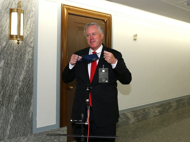 White House chief of staff Mark Meadows departs the Senate Judiciary Committee confirmation hearing for Supreme Court nominee Judge Amy Coney Barrett on Capitol Hill on October 12, 2020 in Washington, DC. Barrett was nominated by President Donald Trump to fill the vacancy left by Justice Ruth Bader Ginsburg who …