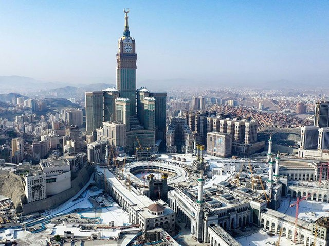 An aerial view shows the Grand Mosque complex in the holy city of Mecca, during the first day of Umrah, on October 4, 2020, as authorities partially resume the year-round pilgrimage amid extensive health precautions after a seven-month coronavirus hiatus. (Photo by - / AFP) (Photo by -/AFP via Getty …