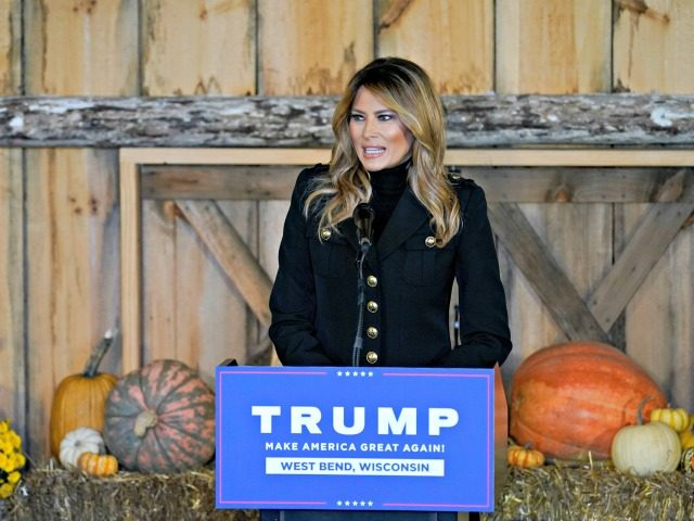 First lady Melania Trump speaks at a campaign event, Saturday, Oct. 31, 2020, in West Bend, Wis. (AP Photo/Morry Gash)