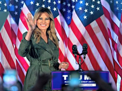 First lady Melania Trump arrives to speak at a campaign rally on Tuesday, Oct. 27, 2020, in Atglen, Pa. (AP Photo/Laurence Kesterson)