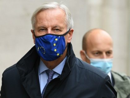 LONDON, ENGLAND - OCTOBER 23: EU Brexit negotiator Michel Barnier walk with other members of the EU delegation in St. James on October 23, 2020 in London, England. Brexit negotiations stalled between the UK and the EU last week with areas of disagreement centreing on fishing rights, post-Brexit competition rules …