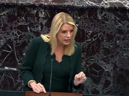 WASHINGTON, DC - JANUARY 30: In this screengrab taken from a Senate Television webcast, Counsel to the President Pam Bondi answers a question from a senator during impeachment proceedings in the Senate chamber at the U.S. Capitol on January 30, 2020 in Washington, DC. On Thursday, Senators continue asking questions …