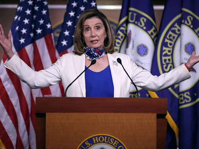 WASHINGTON, DC - OCTOBER 01: Speaker of the House Nancy Pelosi (D-CA) talks to reporters during her weekly news conference in the House Visitors Center at the U.S. Capitol on October 01, 2020 in Washington, DC. Pelosi had a warning for President Donald Trump not to place hope in maneuvers …