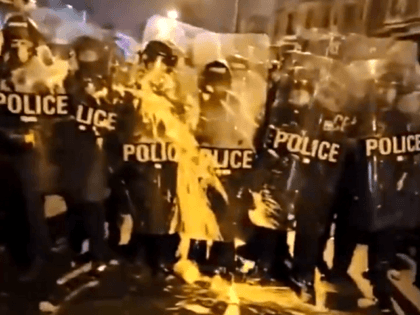Protesters throw buckets of paint at Philadelphia police officers.
