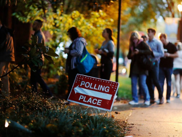 A line forms outside a polling site on election day in Atlanta, Tuesday, Nov. 6, 2018. (AP Photo/David Goldman)