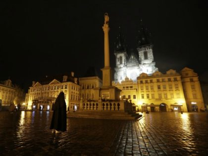 A nun prays in a near empty Old Town Square in Prague, Czech Republic, Friday, Oct. 23, 2020. The steep rise of coronavirus infections in the hard hit Czech Republic seems unstoppable. A series after series of restrictive measures imposed by the government to slow a record surge have failed …