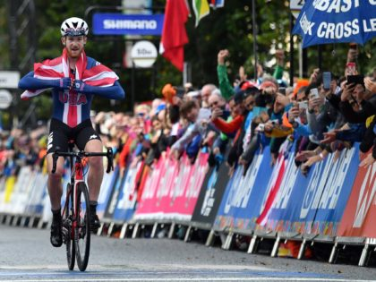 Gold medallist USA's Quinn Simmons reacts after winning in the Men Junior Road Race at the 2019 UCI Road World Championships, Richmond to Harrogate in northern England on September 26, 2019. (Photo by Ben STANSALL / AFP) (Photo credit should read BEN STANSALL/AFP via Getty Images)