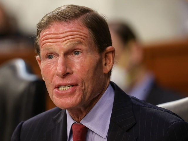 Senator Richard Blumenthal (D-CT) speaks during the Supreme Court confirmation hearing for Judge Amy Coney Barrett before the Senate Judiciary Committee on the first day of her hearing on Capitol Hill on October 12, 2020 in Washington, DC. With less than a month until the presidential election, President Donald Trump …