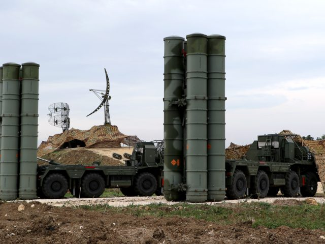 A picture shows two Russian S-400 Triumf S-400 Triumf missile system at the Russian Hmeimim military base in Latakia province, in the northwest of Syria, on December 16, 2015. Russia began its air war in Syria on September 30, conducting air strikes against a range of anti-regime armed groups including …