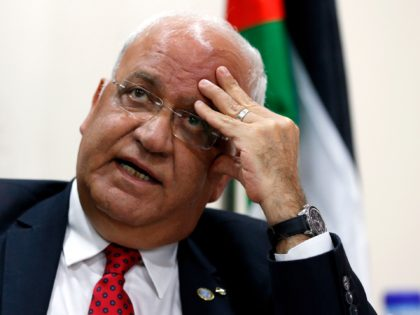 "Saeb Erekat, secretary of the Palestine Liberation Organization (PLO), speaks during a press conference in Ramallah on Apil 10, 2019, following the Israeli elections. - Erekat said that Israelis had voted ""no to peace"" after exit polls following the country's general election showed its left-wing parties were badly defeated. (Photo …"