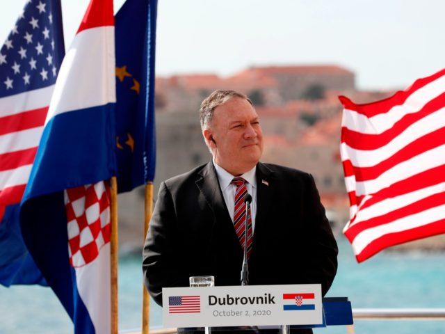U.S. Secretary of State Mike Pompeo listens as Croatia's Prime Minister as he speaks during a joint press conference in Dubrovnik on October 2, 2020. - Pompeo is in Croatia as part of his six-day trip to Southern Europe. (Photo by Darko Bandic / POOL / AFP) (Photo by DARKO …