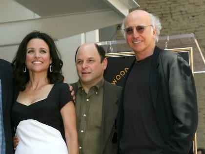 HOLLYWOOD - MAY 04: (L-R) Director Andy Ackerman, actress Julia Louis-Dreyfus, actor Jason Alexander and producer/comedian Larry David attend the Hollywood Walk of Fame ceremony honoring Julia Louis-Dreyfus on May 4, 2010 in Hollywood, California. (Photo by Valerie Macon/Getty Images)