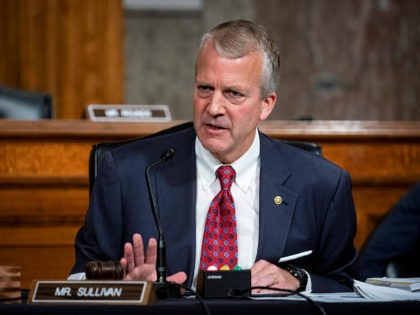 Sen. Dan Sullivan, R-Alaska, speaks as Kenneth Braithwaite, nominated to be Secretary of the Navy, Gen. Charles Q. Brown, Jr., nominated for reappointment to Chief of Staff of the U.S. Air Force and James Anderson, nominated to be Deputy Under Secretary of Defense for Policy, testify during a Senate Armed …