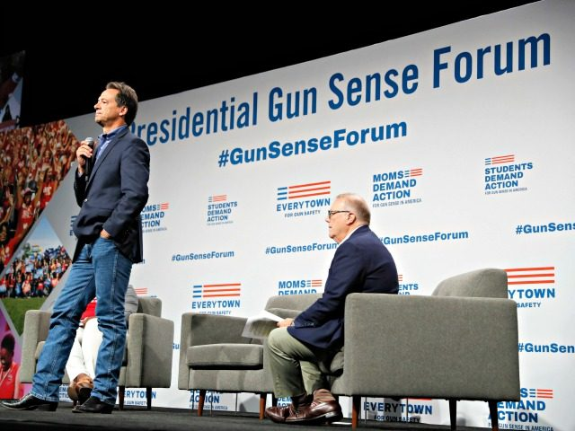 Democratic presidential candidate Montana Gov. Steve Bullock speaks at the Presidential Gun Sense Forum, Saturday, Aug. 10, 2019, in Des Moines, Iowa. (AP Photo/Charlie Neibergall)