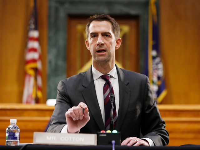 WASHINGTON, DC - MAY 05: Sen. Tom Cotton, R-Ark., speaks during a Senate Intelligence Committee nomination hearing for Rep. John Ratcliffe, R-Texas, on Capitol Hill in Washington, Tuesday, May. 5, 2020. The panel is considering Ratcliffe's nomination for director of national intelligence. (Photo by Andrew Harnik-Pool/Getty Images)