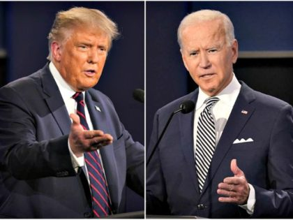 President Donald Trump, left, and former Vice President Joe Biden during the first presidential debate at Case Western University and Cleveland Clinic, in Cleveland, Ohio. Trump and Biden have starkly different visions for the international role of the United States — and the presidency.