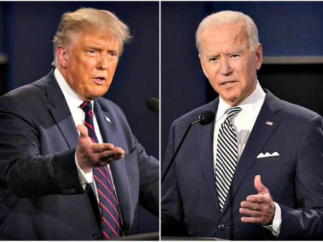 President Donald Trump, left, and former Vice President Joe Biden during the first presidential debate at Case Western University and Cleveland Clinic, in Cleveland, Ohio. Trump and Biden have starkly different visions for the international role of the United States — and the presidency. (AP Photo/Patrick Semansky)