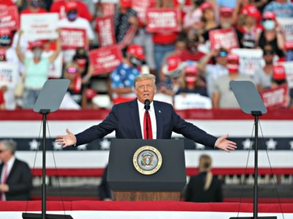 HE VILLAGES, FLORIDA - OCTOBER 23: U.S. President Donald Trump speaks during his campaign event at The Villages Polo Club on October 23, 2020 in The Villages, Florida. President Trump continues to campaign against Democratic presidential nominee Joe Biden leading up to the November 3rd Election Day. (Photo by Joe …