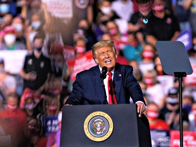 GASTONIA, NC - OCTOBER 21: President Donald Trump makes remarks to a crowd of several thousand rally goers at Gastonia Municipal Airport on October 21, 2020 in Gastonia, North Carolina. Polls in North Carolina show republicans not carrying the state 12 days before the election. (Photo by Melissa Sue Gerrits/Getty …