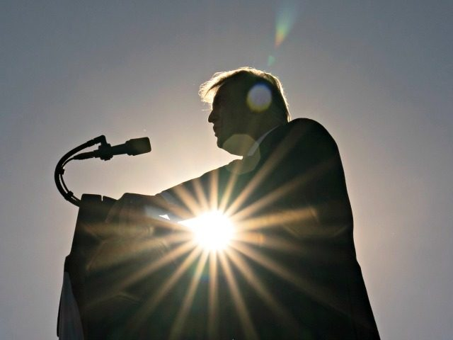 President Donald Trump speaks at a campaign rally at Carson City Airport, Sunday, Oct. 18, 2020, in Carson City, Nev. (AP Photo/Alex Brandon