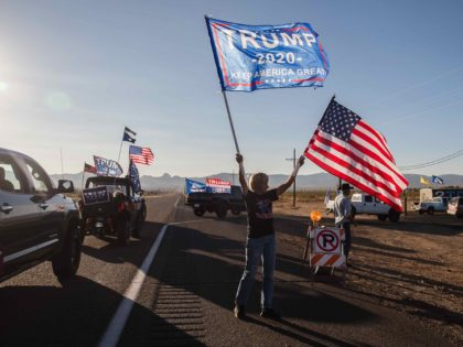 Trump rally flags (Ariana Drehsler / AFP / Getty)