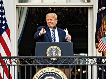 WASHINGTON, DC - OCTOBER 10: U.S. President Donald Trump addresses a rally in support of law and order on the South Lawn of the White House on October 10, 2020 in Washington, DC. President Trump invited over two thousand guests to hear him speak just a week after he was …