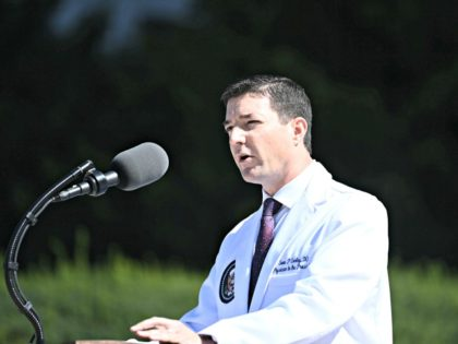 White House physician Sean Conley gives an update on the condition of US President Donald Trump, on October 3, 2020, at Walter Reed Medical Center in Bethesda, Maryland. - Trump was hospitalized on October 2 due to a Covid-19 diagnosis. (Photo by Brendan SMIALOWSKI / AFP) (Photo by BRENDAN SMIALOWSKI/AFP …