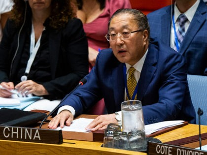 NEW YORK, NY - AUGUST 20: Zhang Jun, Permanent Representative of China to the United Nations speaks during a Security Council meeting at the United Nations on August 20, 2019 in New York City. Prior to the meeting on the Middle East, U.S. Secretary of State Mike Pompeo acknowledged that …