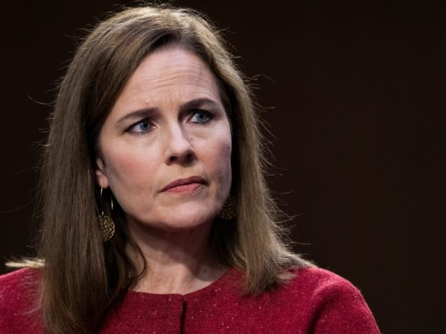 WASHINGTON, DC - OCTOBER 14: Supreme Court nominee Amy Coney Barrett appears before the Senate Judiciary Committee on the third day of her Supreme Court confirmation hearing on Capitol Hill on October 14, 2020 in Washington, DC. Barrett was nominated by President Donald Trump to fill the vacancy left by …